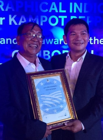 Mr. NGUON Lay, President of KPPA, on the day of receiving certificate of official registration of Kampo Pepper as GI product in Europe in 2016